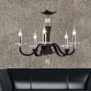 Nardini 5 Light Fitting in Dark Brown Faux Leather, Chrome and Crystal - DIYAS IL31045